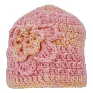 🆕Hand-Crocheted Pink and Yellow Flower Beanie